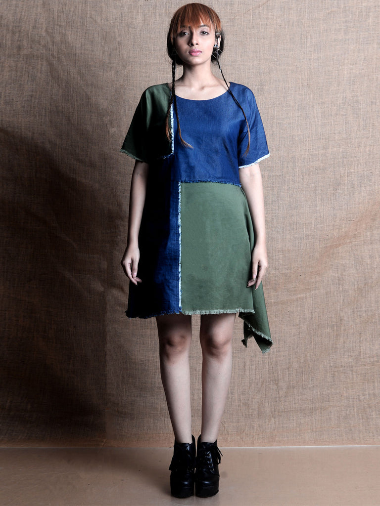 Asymmetrical Patched Denim Dress