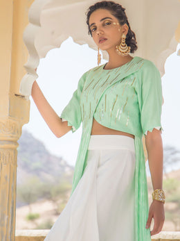 Pastel Green Bandhej Gown with Drape Skirt