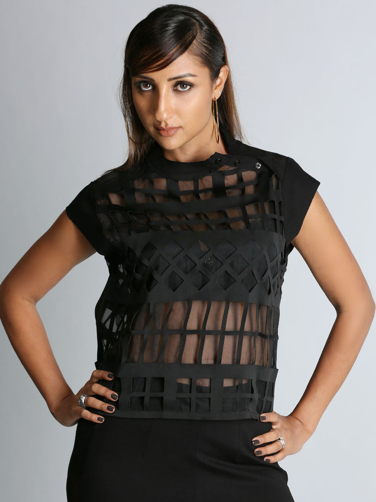 Black Pure Organza Top With Cutwork