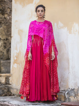Pink and Red Bandhej Gown with Attached Cape