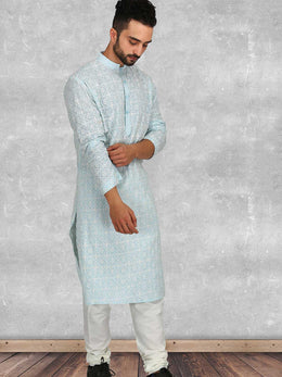 Powder Blue Kurta with Churidaar