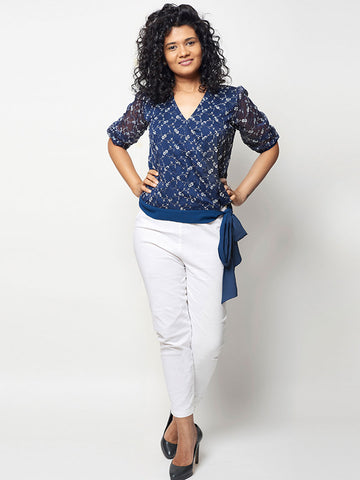 Lazy Dazy Navy Blue Chiffon Top