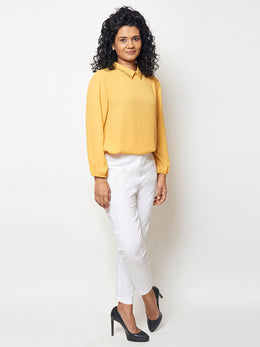 Bright Yellow Sequin Embroidered Top