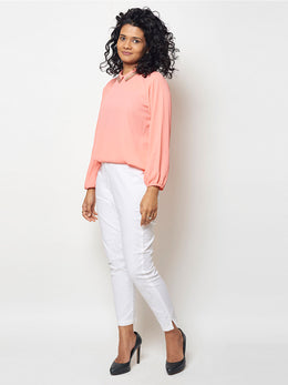 Peach Sequin Embroidered Top