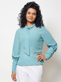 Blue Knotted Georgette Top
