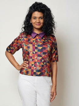Multi Colour Printed Silk Top