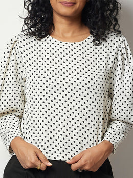 White Polyester Top with Statement Sleeves