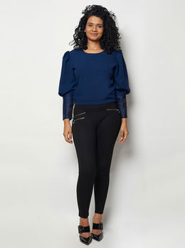 Navy Blue Embroidered Crepe Top