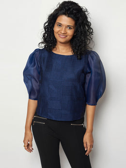 Navy Blue Silk Top with Organza Sleeves