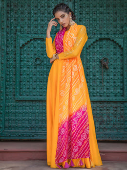 Pink and Yellow Bandhej Gown