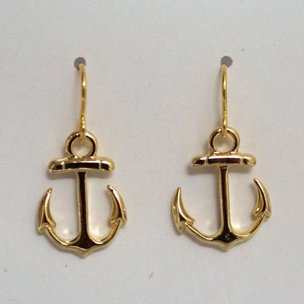 Earring {Petite Anchor Drop Earrings Matte Gold}