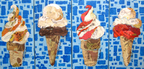 Painting {Torn Paper Ice Cream Minis}
