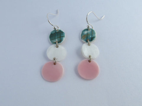 Earring {Green, White, and Pink Drop}