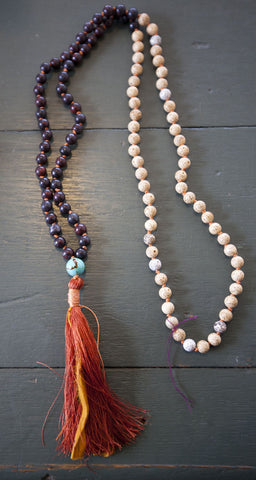 Necklace {jasper + turquiose mala}