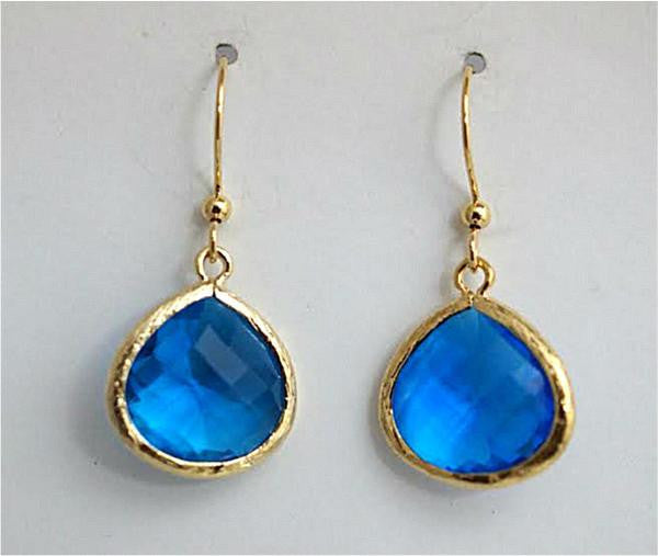Earring {Framed Glass Teardrops Capri Blue}
