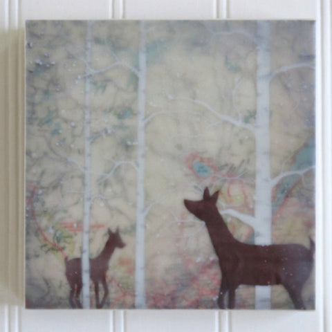 {Wax Encaustic Mini} Deer and Fawn