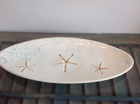Platter:: long oval 3 starfish + waves
