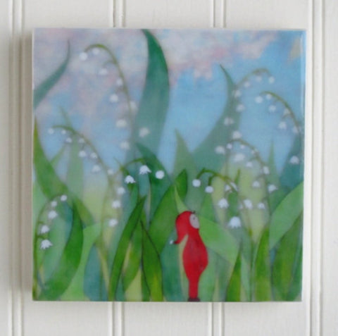 {Wax Encaustic Mini} Gnome in the Lily Valley