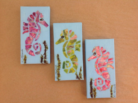 Painting {Torn Paper Seahorse Minis}