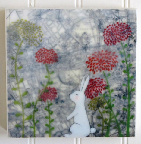 {Wax Encaustic Mini} London Bunny