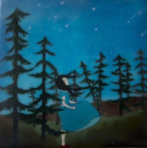 {Wax Encaustic Mini} Girl in Forest