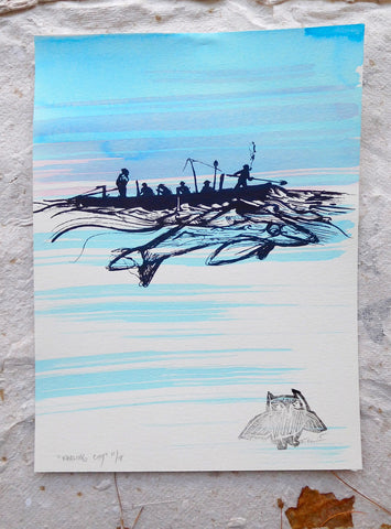 Whaling City {Limited Edition Print with Ink Wash}