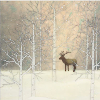 {Wax Encaustic Mini} Winter Elk