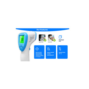 ACCURO TL1 Infrared Thermometer Non-Contact with Three Color LCD Screen for Adult and Baby with Fever Alarm and Memory Function