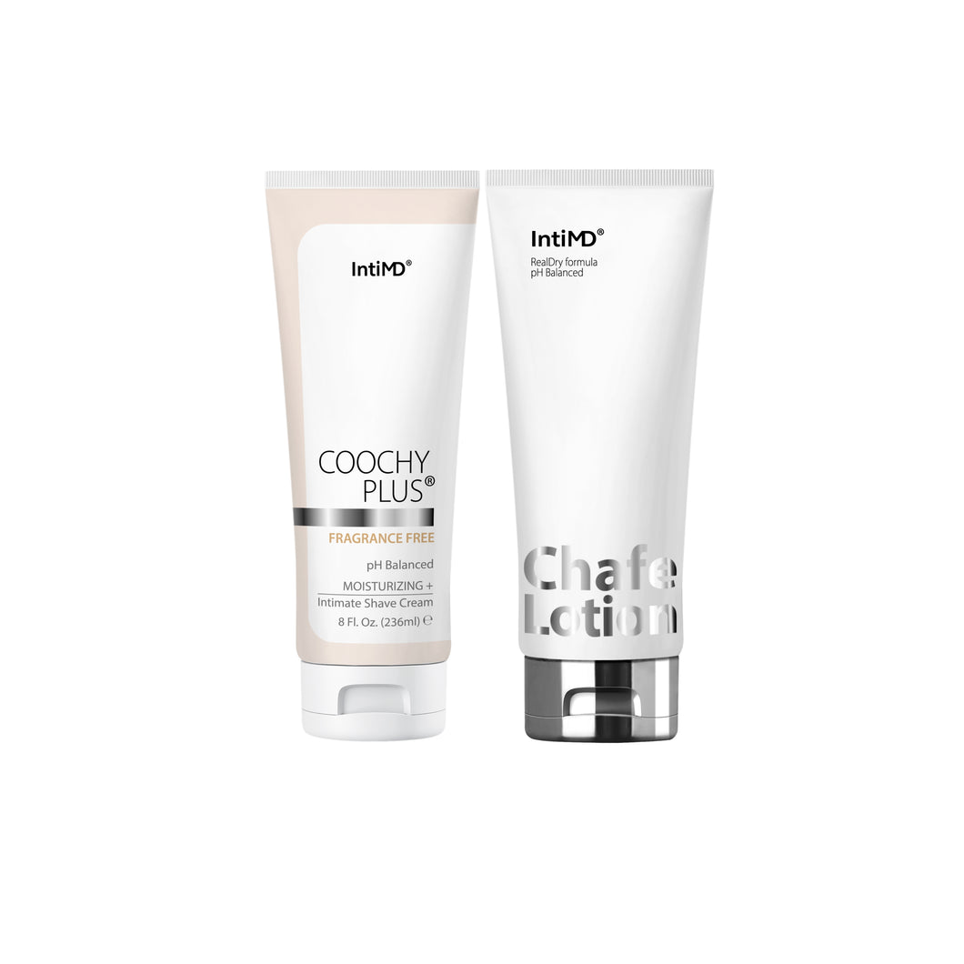 Coochy Plus Intimate Shaving Cream FRAGRANCE FREE 8 Oz. + Chafe Lotion 3.4 Oz. Kit