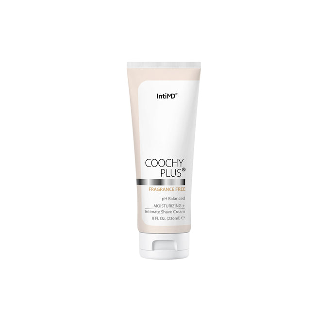 Coochy Plus Intimate Shaving Cream FRAGRANCE FREE For Pubic, Bikini Line, Armpit and more - Rash-Free With Patent-Pending MOISTURIZING+ Formula 8 Oz. - IntiMD
