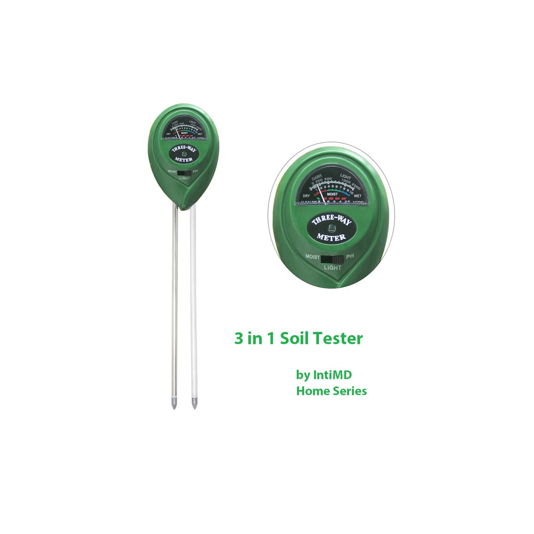 Quick & Easy 3 in 1 Soil Tester, Soil Moisture/Light/pH Tester Gardening Tool Kits for Plant Garden Lawn Farm, Indoor & Outdoor Use, Green (No Battery Required) Home Series - IntiMD