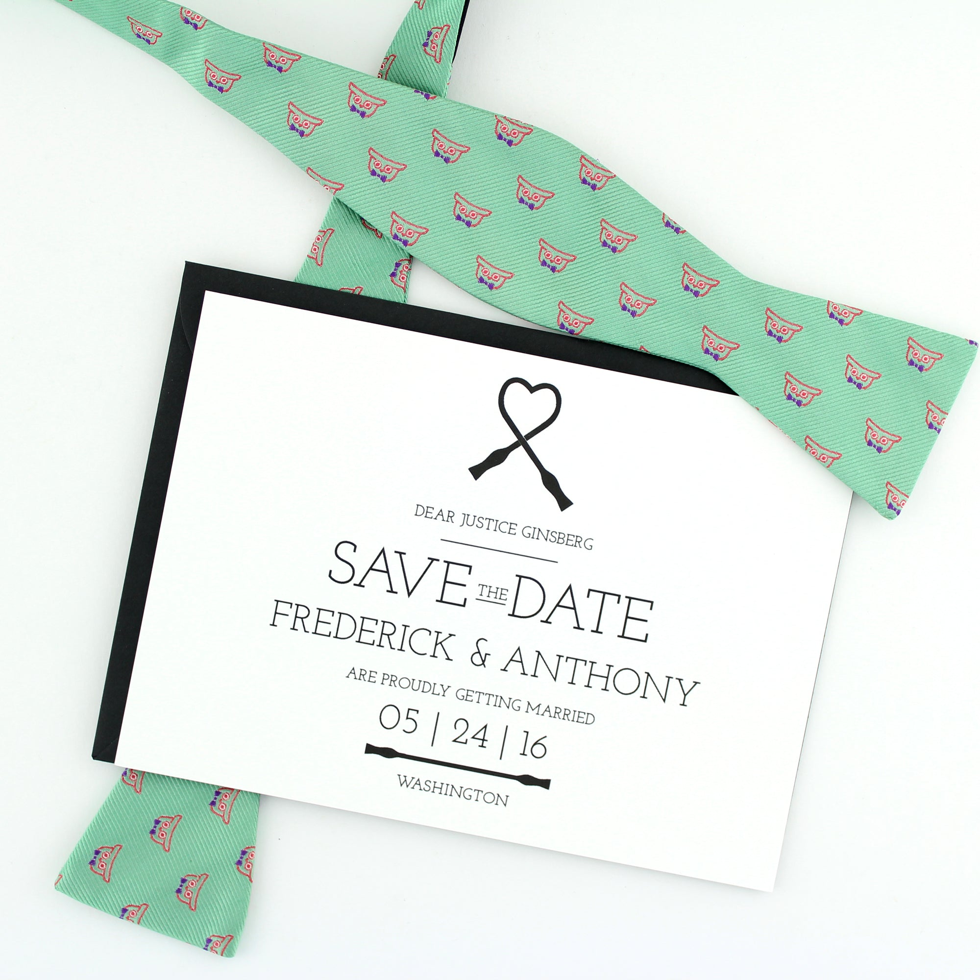 Supreme Save the Date: Bow Tie Heart / Designed by Lupa and Pepi for Tie the Knot.org