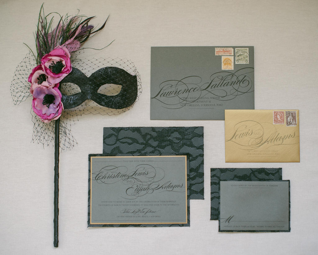 Romantic Mardi Gras Wedding Invitation Suite