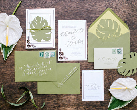 Tropical Leaves & Sea Glass Wedding