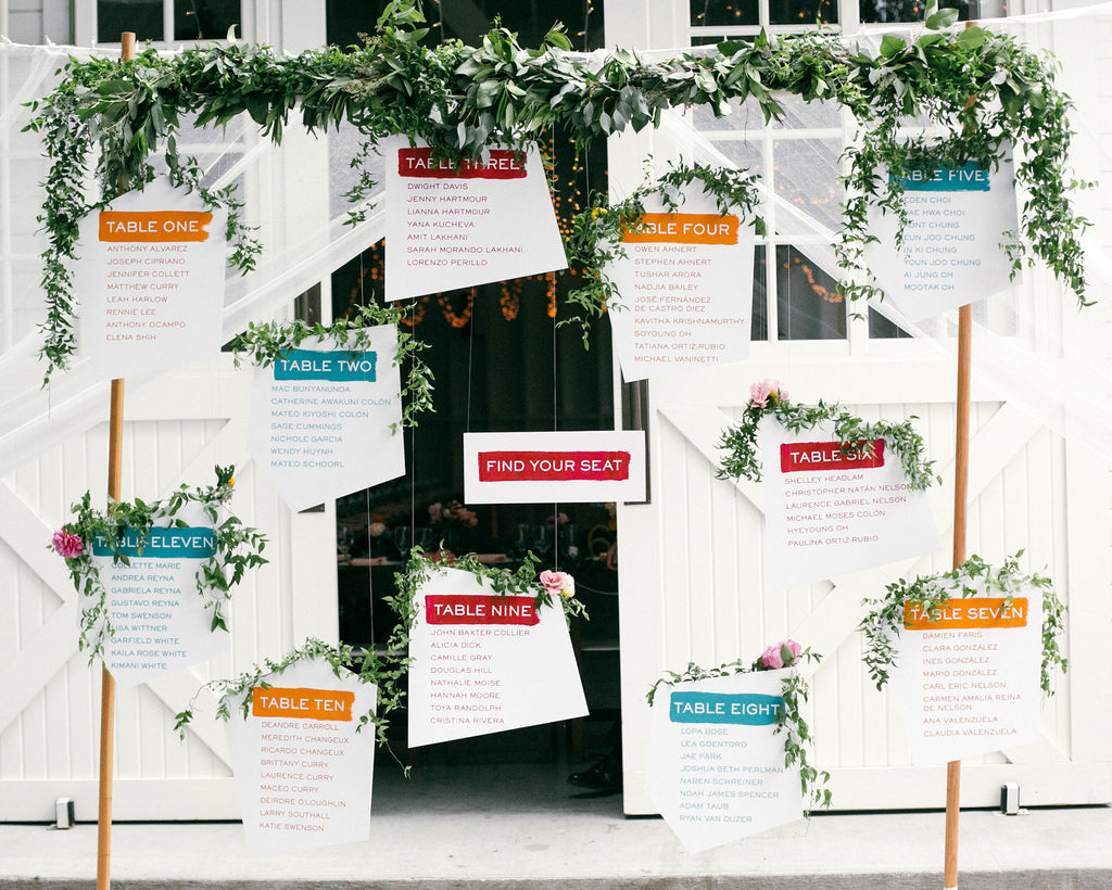 Fresh & Colorful Lombardi House Wedding Escort Signs