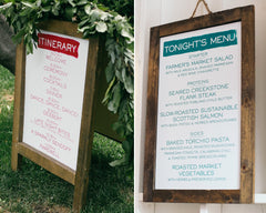 Fresh & Colorful Lombardi House Wedding Itinerary Sign & Dinner Menu