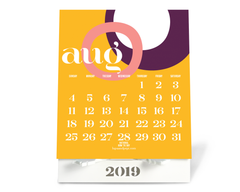 August 2019 Lupa and Pepi Desktop Calendar