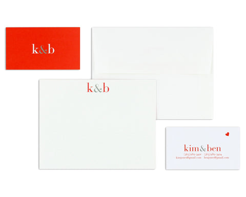 Classico Couple Monogram Notecard & Business Card Set