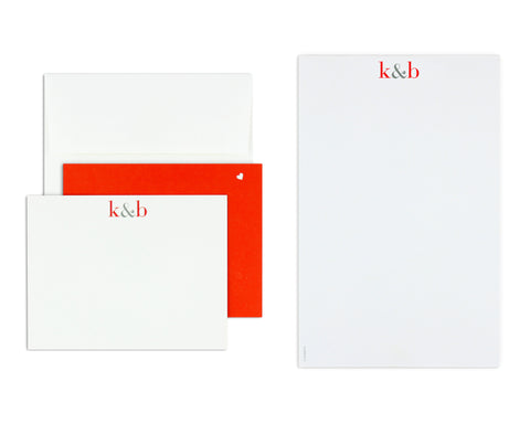 Classico Couple Monogram Notecard & Notepad Set