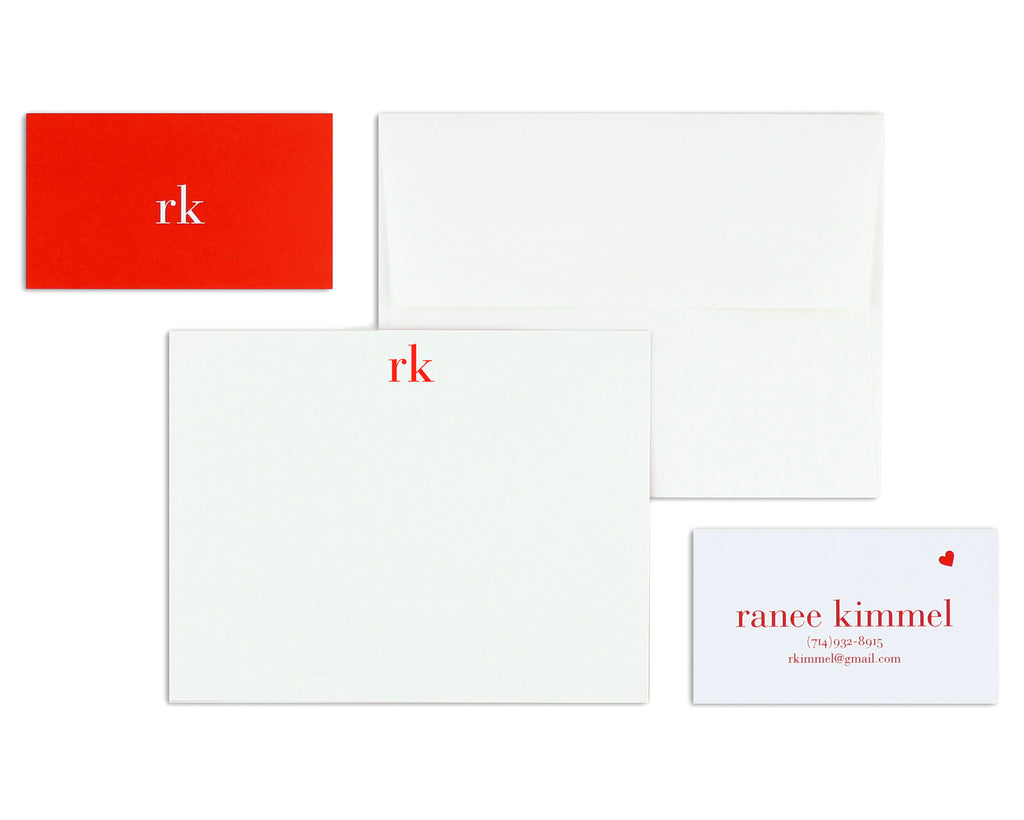 Classico Personalized Notecard Back with Envelope and Business Card Front and Back