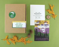 Sundance Resort Save the Date, Wood Magnet, and Mailing Box with Label and Sticker