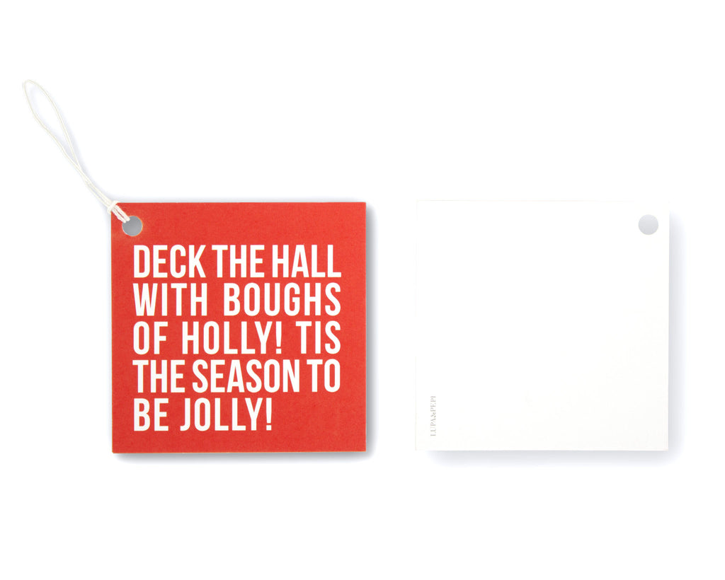 Fa La La Deck the Halls Gift Tag Front and Back