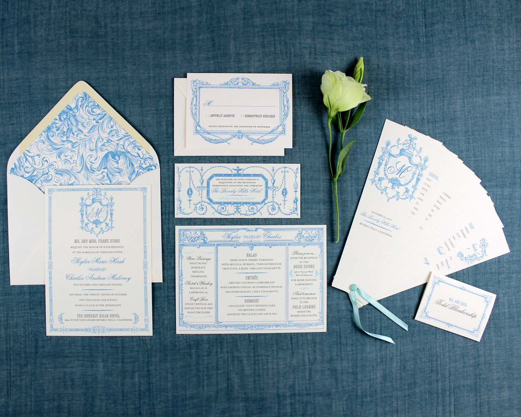 Marie Antoinette Wedding Invitation Suite Program Fan