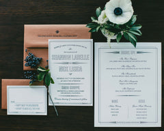 Art Deco Navigation Letterpress Wedding Invitation Suite