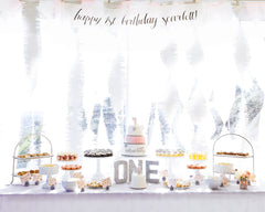 Onederful Birthday Banner, Backdrop, and Dessert Table Cards