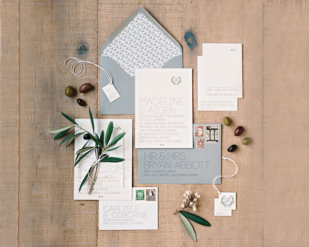 Elegant Ranch and Vineyard Wedding Invitation Suite
