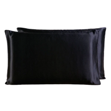 Load image into Gallery viewer, Sheba & Mulberry Silk Zipper Pillow Case - Majesty black