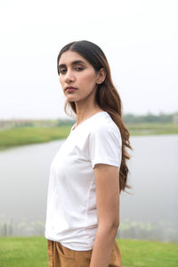 Classic White for Women, made in 100% Organic Cotton in 180 gsm fabric. It's super soft and light, and not transparent. It's the best white tee that's ever been made for Women.