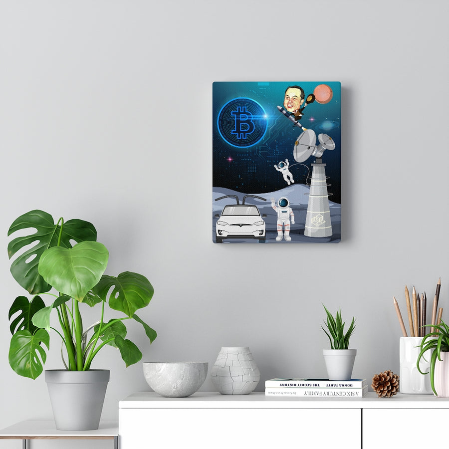 Elon Musk in Space, Founder of Bitcoin, Spacex, and Tesla - Canvas Wall Art