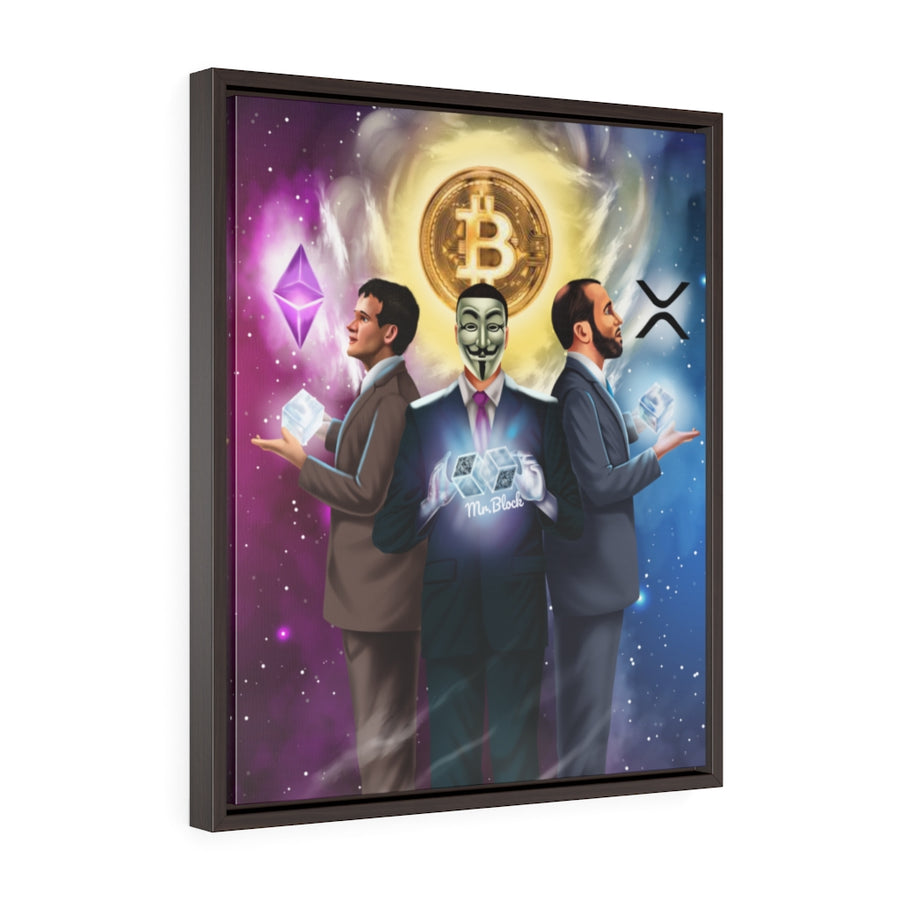 The Perfect Trio - XRP Ripple, Bitcoin (BTC), Ethereum (ETH)- Vertical Framed Wall Art Canvas